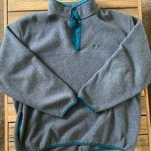 VTG LL Bean Fleece Jacket XLT gray quarter snap